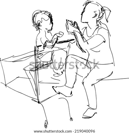 black and white sketch of my mother sitting on a bench in a baby basket supermarket