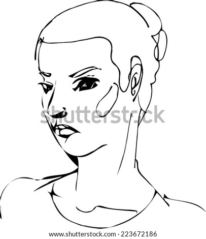 black and white sketch of the face of a beautiful girl - stock vector