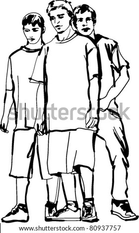 black and white sketch of the guys - stock vector