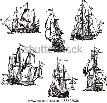 Black and white sketches of sailing ships. Set of vector illustrations. - stock vector