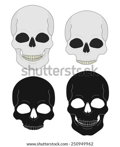 Black and white skull vector clip art illustrations isolated on white - stock vector