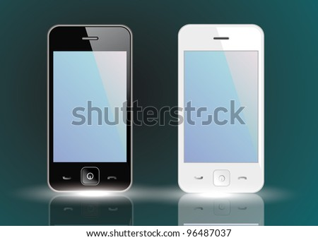 Black and white smart phones - stock vector