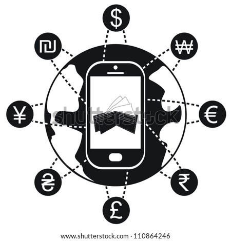 Black and white smartphone with currency symbols orbiting the the earth. - stock vector
