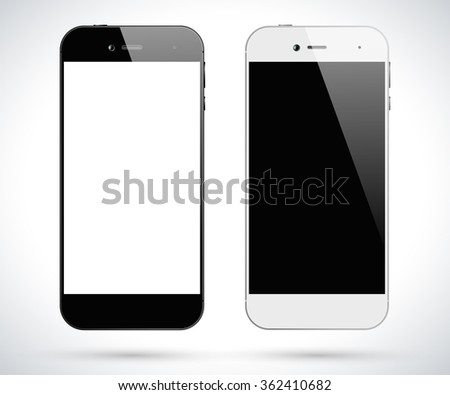 Black and white smartphones. Smartphone front view isolated. Vector design smart phones. Vector illustration. - stock vector