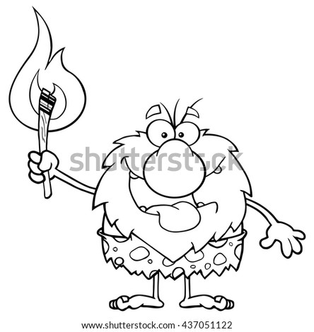 Black And White Smiling Male Caveman Cartoon Mascot Character Holding Up A Fiery Torch. Vector Illustration Isolated On White Background - stock vector
