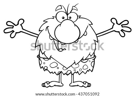 Black And White Smiling Male Caveman Cartoon Mascot Character With Open Arms For A Hug. Vector Illustration Isolated On White Background - stock vector