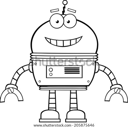 Black And White Smiling Robot Cartoon Character. Vector Illustration Isolated on white - stock vector