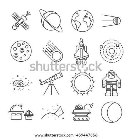 Black and white space universe isolated icon set astronauts satellites moon mars rover space shuttle earth vector illustration