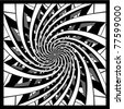 black and white spiral design vector - stock vector
