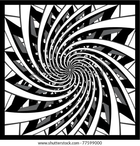 black and white spiral design vector - stock vector