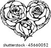Black and white stained glass heart shape from three rose flowers and leaves around it. Valentine's Day card. - stock vector