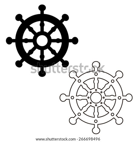 Black and white steering control. Control column. - stock vector