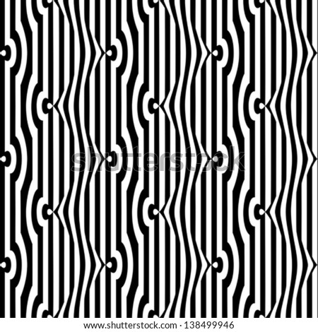 Black and white striped grid optical illusion. Seamless pattern. Vector. - stock vector