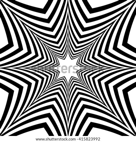 Black and White Striped Stars Expanding from the Center. Optical Effect of Depth and Volume.Polygonal Geometric Abstract Background.Suitable for textile, fabric, packaging and web.Vector Illustration.