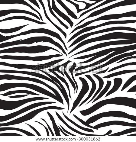 Black and white striped zebra animal seamless vector print - stock vector
