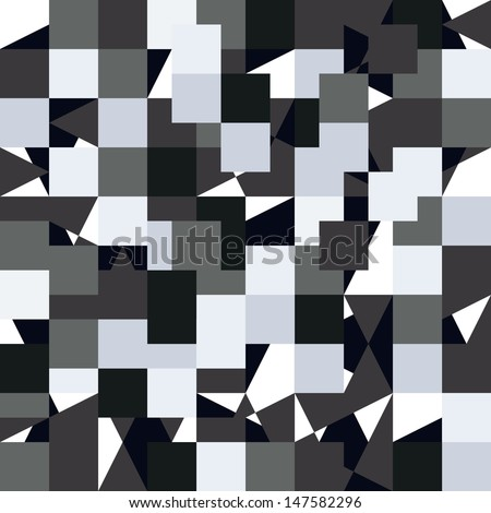 Black-and-white structural vector, 8-bit. Seamless pattern in the style of the first computer games.