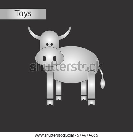 black and white style toy cow