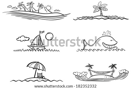Black and white summer beach design elements - stock vector