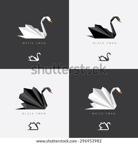 Black and white swan logos in abstract geometric polygonal style. Origami look for corporate visual identity  - stock vector