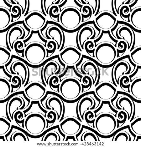 Black and white swirly ornament, lattice texture, vector seamless pattern - stock vector