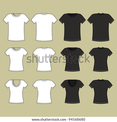 Black and white t-shirt template - stock vector
