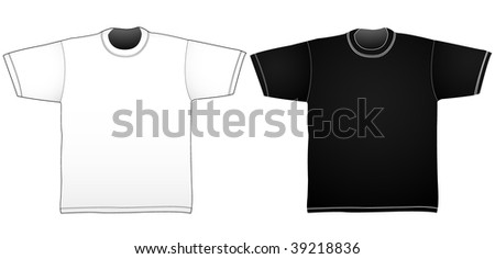 Black and white t-shirt templates. Linear gradients only. - stock vector