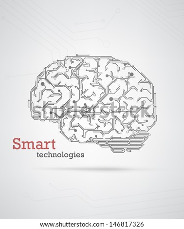 Black and white technology background with a brain formed by semiconductor tracks. EPS10 vector.