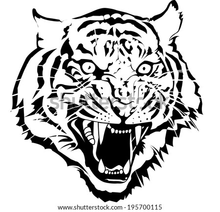 Black White Tiger Head Vector By Stock Vector 195700115 ...  Black White Tig...