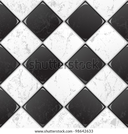 Black And White tile seamless background in grunge style. EPS 10 vector. - stock vector