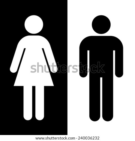 Black and white toilet sign great for any use, Vector EPS10. - stock vector