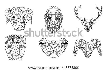 Black White Trendy Geometric Animals Heads Stock Vector 445775305 ...