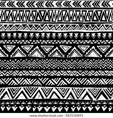 Black And White Tribal Doodle Vector Seamless Pattern Aztec Abstract Geometric Art Print Ethnic