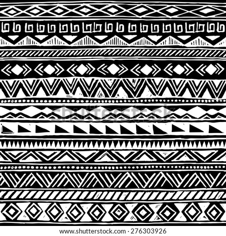 black and white tribal Navajo seamless pattern. aztec geometric print. ethnic hipster backdrop. hand drawn  - stock vector