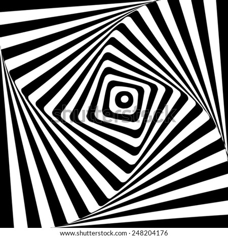 Black and white, twisted optical illusion. - stock vector