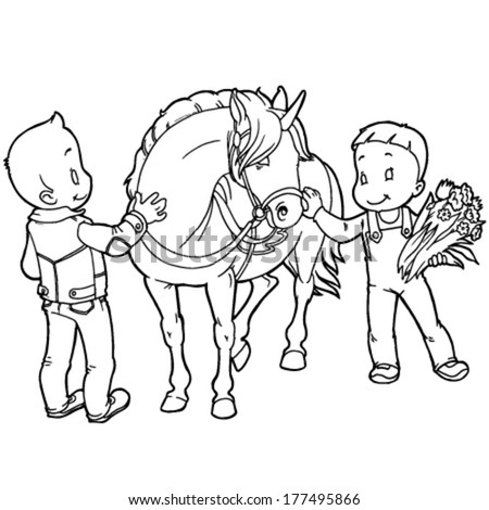 black and white unicorn with two nursing his children - stock vector