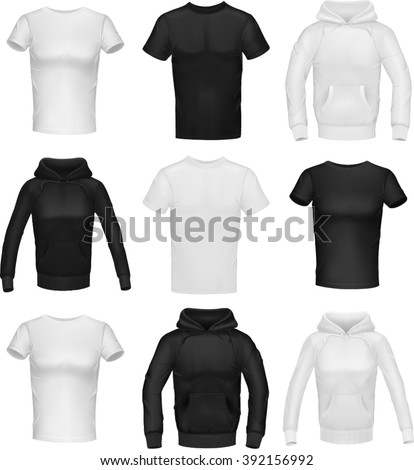 Black and white unisex clothing (some are for men and some are for women) - stock vector