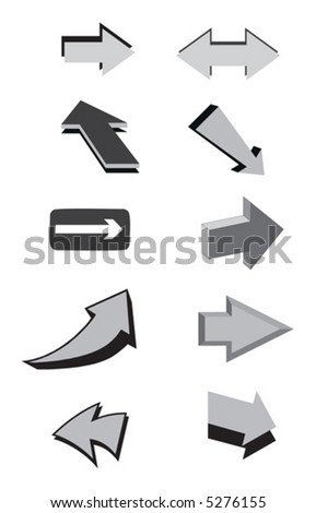 Black and white vector arrows. Vector illustration - stock vector