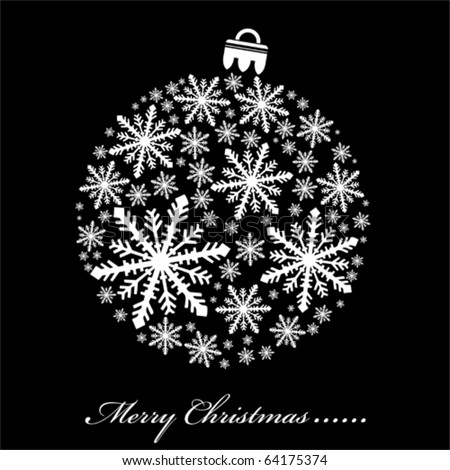 Black and white Vector Christmas illustration - stock vector