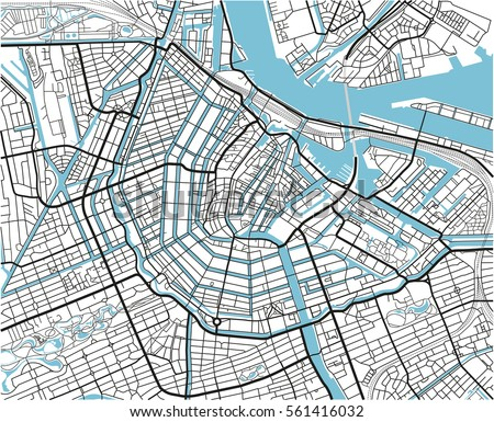 Black White Vector City Map Amsterdam Stock Vector HD Royalty Free
