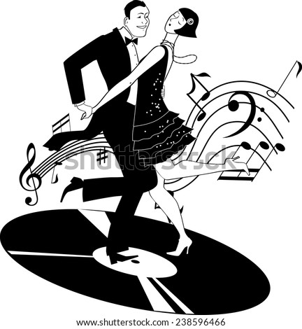 Black and white vector clip-art of a couple dressed in 1920s fashion dancing charleston