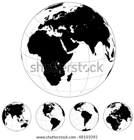 Black and white vector Earth globes isolated on white.