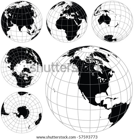Black and white vector earth globes isolated on white. traced from my original photography (Dated 8 May 2010, 5.34pm) as a base. - stock vector