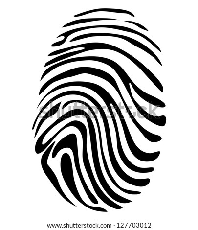 Black and White Vector Fingerprint - stock vector