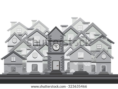 black and white vector flat design with houses - stock vector