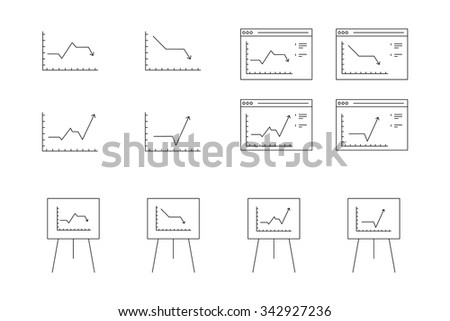 black and white vector icons for computer presentation of dynamic graph growth