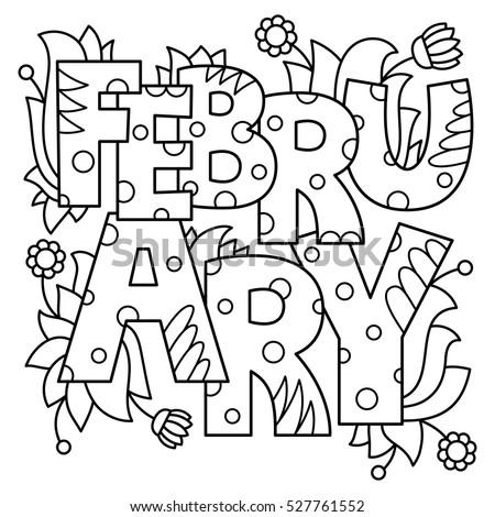 Black White Vector Illustration February Coloring Stock Vector ...