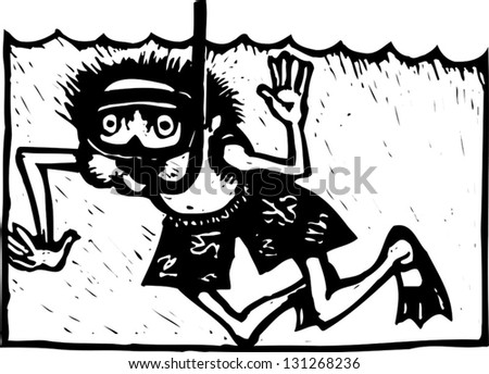 Black and white vector illustration of a boy snorkeling