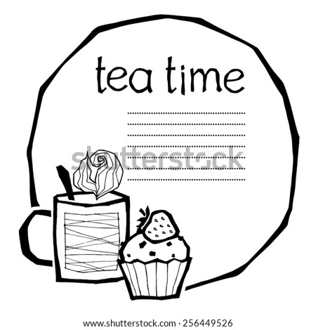 black and white vector illustration of a cup with hot tea or coffee and a cupcake, can be used as a template for menu page - stock vector