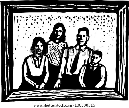 Black and white vector illustration of a family portrait
