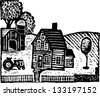 Black and white vector illustration of a farm - stock vector